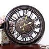 Настенные часы коллаж, винтажные часы. Кварцевые часы - диаметр 40 см. Ретро часы. Цвет - темная бронза.