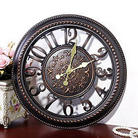 Настенные часы коллаж, винтажные часы. Кварцевые часы - диаметр 40 см. Ретро часы. Цвет - темная бронза., фото 1