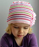 Детская шапка Арктик Радуга: хлопок, ажур. р.48-54 желтый, розовый, т.розовый, голубой