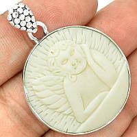 Кость верблюда, гемма Ангел, серебро 925, кулон, 330КЛК