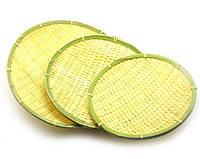 Подносы бамбуковые(н-р 3 шт)(d-32 см d-28 см d-25 см)