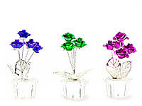 Розы в хрустальном горшке (7х3х3 см)