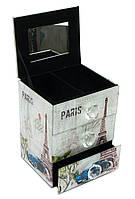 """Шкатулка для украшений """"Париж""""с зеркальцем стеклянная (15х12х9,5 см)"""