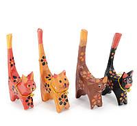 Кошки деревянные кольцедержатели (н-р 4 шт)(11х5х7,5 см) цена за набор