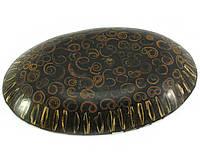 Блюдо ракушка из корицы со смолой и перламутра коричневое (23,5х15,5х3 см)