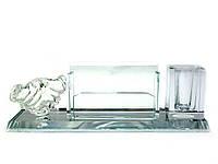 Подставка для ручки и визиток хрусталь (22х7х6,5 см)