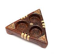 Подствечник терракотовый на 3 свечи треугольный (15,5х13,5х4 см)