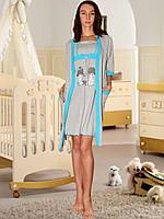 Комплект для кормления: ночная сорочка и халат (Серый с голубым)