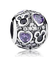 """Шарм бусина №1288 """"Disney. Фиолетовые сердца"""" для браслета Пандора PANDORA (Серебро)"""