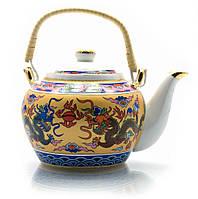"""Чайник фарфор с бамбуковой ручкой (750мл.)(TPR1007-4) """"Драконы"""""""