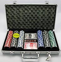 Покерный набор в аллюминевом кейсе (300 фишек)(39х21х7 см)(вес фишки 4 гр. d-39 мм)