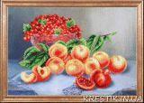 Ткань с рисунком для вышивки бисером Персики со смородиной