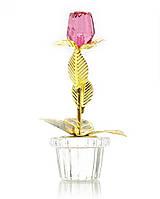 Цветок на золотом стебле хрустальный (1бутон) (9,5х4х4 см)