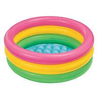 """Детский надувной бассейн INTEX 58924 """"Красочный"""" винил,3секц(1-3лет),с реф. дном, в кор. 86*25см IKD"""