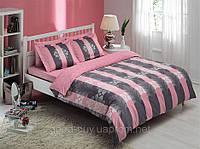 Комплект постельного белья Tac Delux Shane розовый сатин Двуспальный Евро