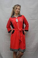 Велюровый халат с длинным рукавом 52 Голубой