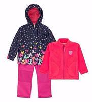 Демисезонный комплект 3 в 1 для девочки 3-9 лет (Р. 98-134, куртка, флисовая кофта, брюки) ТМ Deux par Deux W51-687