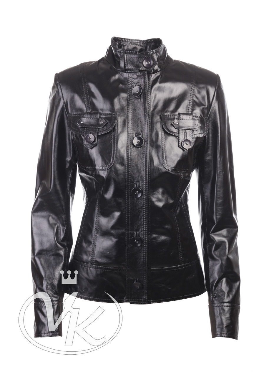 Куртка пиджак женская кожаная черная 44 размера (Арт. PO201)