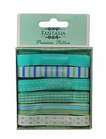 """Набор лент из ткани """"Бирюзовый коктейль"""" 6 шт*1 м Fantasia ribbon"""
