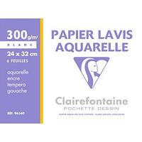 Папка для акварели Lavis Aquarelle А4 (24х32см), 300 г/м 6л., Clairefontaine