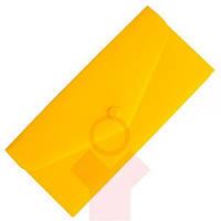 Папка-евроконверт Е65 прозрачный на кнопке желтый Economix