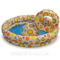 Детский надувной бассейн INTEX 59460 2 кольца, цветной с набором 122-25 см IKD /63-5