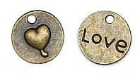 Подвеска металлическая Круг с сердцем Античная бронза 15мм 6шт. Margo