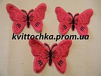 """Нашивка клеевая """" Бабочка"""" розовая, микс цена за 6 шт"""