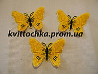 """Нашивка клеевая """"Бабочка"""" жёлтая, микс, цена за 6 шт"""