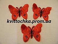 """Нашивка клеевая """"Бабочка"""" оранжевая 2, микс, цена за 6 шт"""