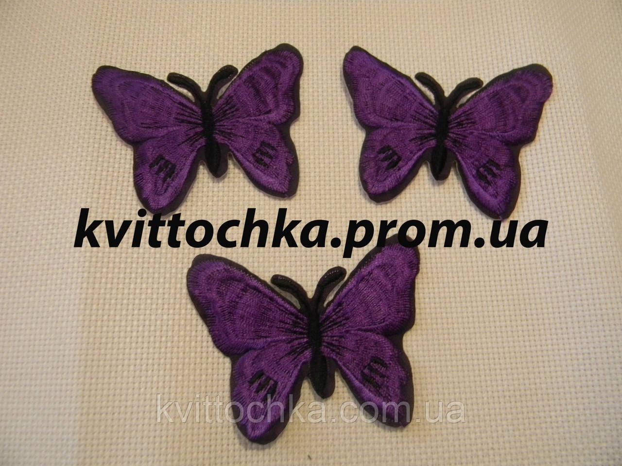 """Нашивка клеевая """"Бабочка"""" фиолетовая,микс,  цена за 6 шт"""
