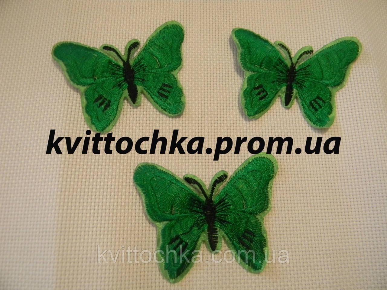"""Нашивка клеевая """"Бабочка"""" зелёная,микс, цена за 6 шт"""
