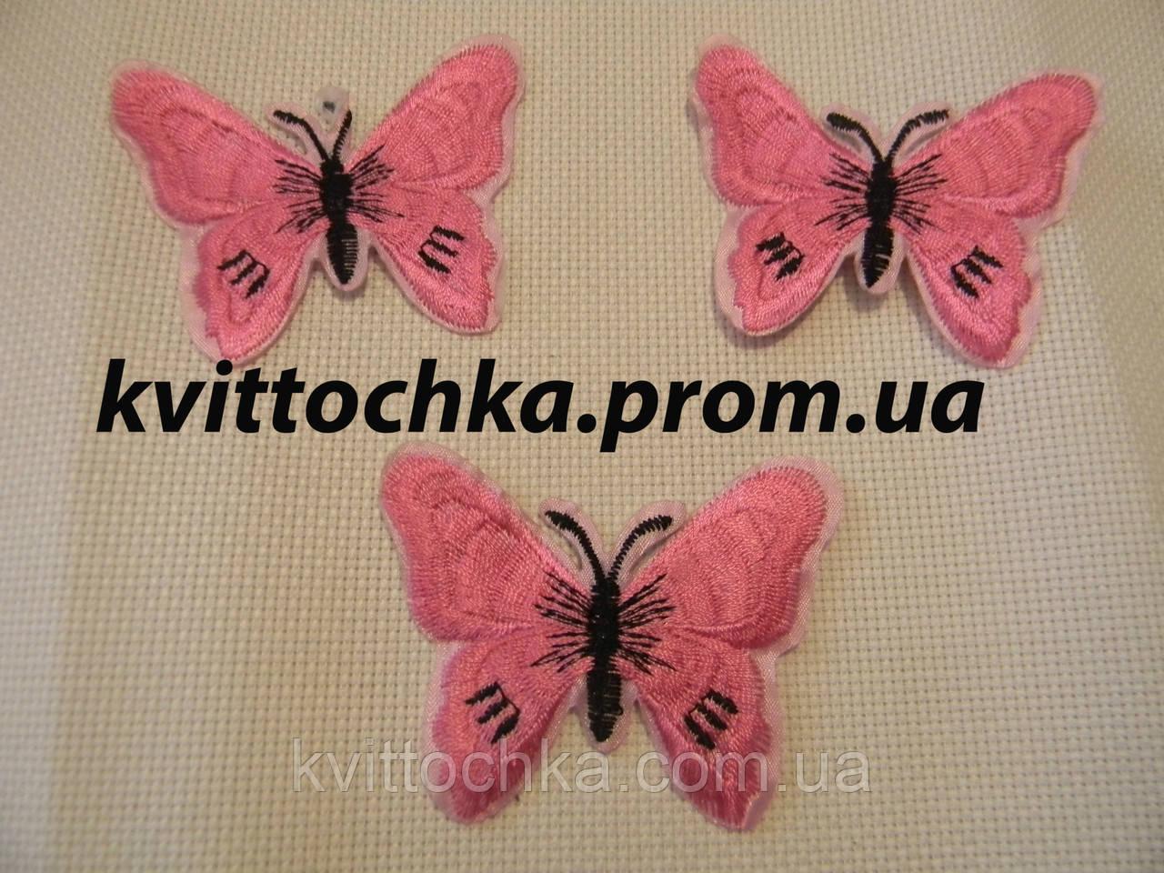 """Нашивка клеевая """"Бабочка"""" розовая 2,микс, цена за 6 шт"""