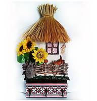 Ключница настенная домик Ласкаво просимо Подарок в украинском стиле на 8 марта