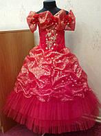 Блестящее красно-золотое детское платье на 6-8 лет