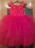 Воздушное красно-золотое детское платье на 5-8 лет