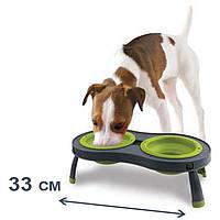 Dexas миска двойная на складной подставке для собак и кошек, зеленая