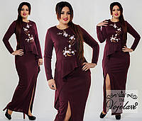 Модное  длинное платье батал с баской и аппликацией, цвет марсала .  Арт-9938/41