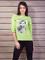 Стильная меланжевая кофта с портретом девушки