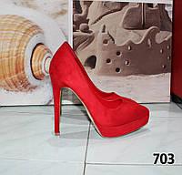 Женские туфли лодочки красные замшевые на каблуке