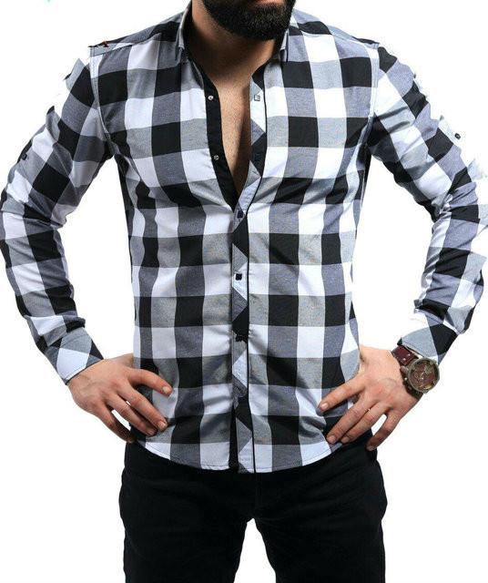 Рубашка в чёрно-белую крупную клетку