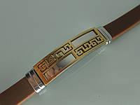 Браслет БК3 из стали и каучука (коричневый) с устойчивым покрытием золота.