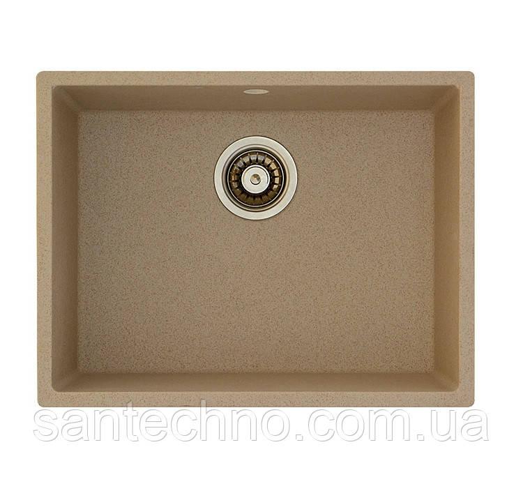 Гранітна прямокутна мийка для кухні Fabiano Quadro 53x46 Beige
