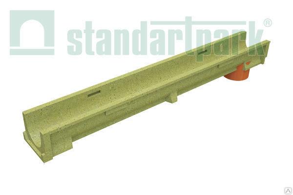Лоток CompoMax Basic 10.14.06 полимербетонныйс вертикальным отводом усиленный (с оцинкованными насадками)