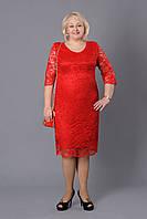 Нарядное гипюровое платье на подкладке большого размера Донна