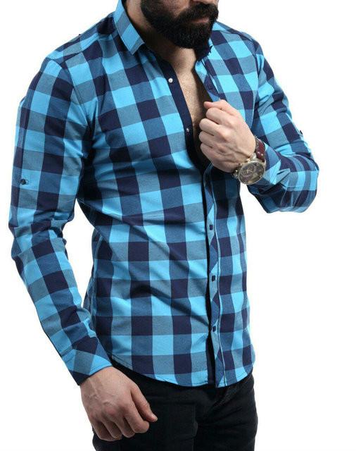 Рубашка небесного цвета в синюю клетку