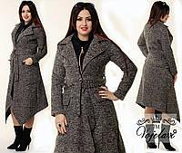 Модное батальное пальто с карманами, поясом, цвет мокко. Арт-9942/41