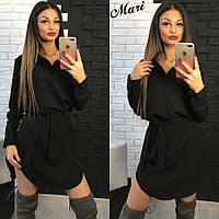 Женское платье рубашка с поясом М329