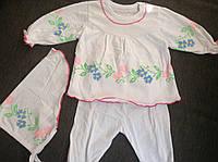 Крестильный комплект для девочки с косынкой на 3- 6 месяцев, на 6- 9 месяцев