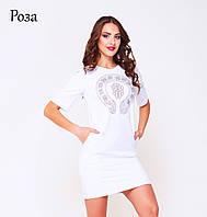 Платье из двунитки Роза белое